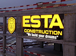 "Буквы ""ESTA Construction"" Н=1500мм, ""Construction"" Н=440мм, логотип 2000х2600мм"